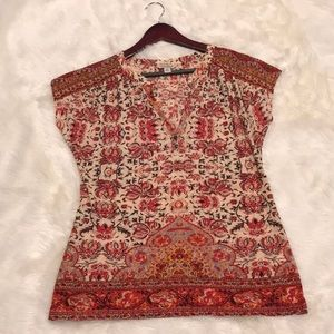 Lucky Brand paisley peasant oversized blouse XS